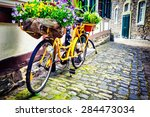 Old Rusty Bicycle With Flowers...