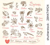 set drawings of spices for... | Shutterstock .eps vector #284474924