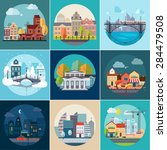 set of different landscapes in... | Shutterstock .eps vector #284479508