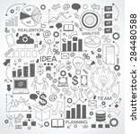 business background is doodles... | Shutterstock .eps vector #284480588