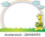 giraffe with rainbow in the... | Shutterstock .eps vector #284484593