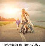 happiness mother and son on the ... | Shutterstock . vector #284486810