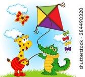 Stock vector giraffe and crocodile launching a kite vector illustration eps 284490320