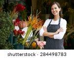 portrait of female florist... | Shutterstock . vector #284498783