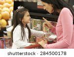 girl having argument with... | Shutterstock . vector #284500178