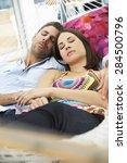 romantic couple asleep in... | Shutterstock . vector #284500796