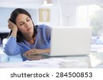 stressed woman working at... | Shutterstock . vector #284500853