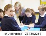 portrait of pupil in classroom... | Shutterstock . vector #284502269