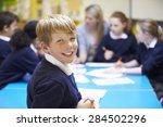 portrait of pupil in classroom... | Shutterstock . vector #284502296