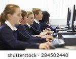 line of children in school... | Shutterstock . vector #284502440