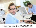 businessman with eyeglasses... | Shutterstock . vector #284507918