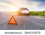 car with problems and a red... | Shutterstock . vector #284515070