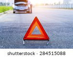 car with problems and a red...   Shutterstock . vector #284515088
