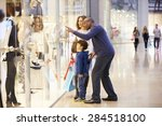 child on trip to shopping mall... | Shutterstock . vector #284518100