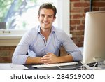 man working at computer in... | Shutterstock . vector #284519000