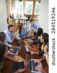 group of office workers meeting ... | Shutterstock . vector #284519246