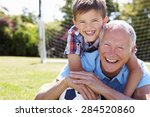 portrait of grandfather and... | Shutterstock . vector #284520860