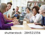 group of mature students... | Shutterstock . vector #284521556