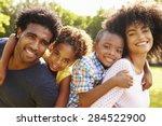 parents giving children... | Shutterstock . vector #284522900