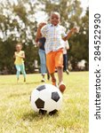 family playing soccer in park... | Shutterstock . vector #284522930