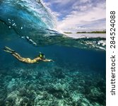 underwater sport postcard. a... | Shutterstock . vector #284524088