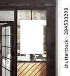3d rendering of poster on window | Shutterstock . vector #284533298