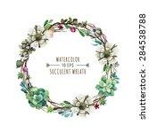 vector flower wreath in a... | Shutterstock .eps vector #284538788