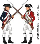 American and British Soldiers from American Revolutionary War Clashing Each Others Weapons, Illustration Isolated on White Background, EPS 10 Vector