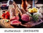 rare rectangle rack of lamb on... | Shutterstock . vector #284546498