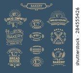 retro set label of bread bakery.... | Shutterstock .eps vector #284555426