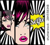 Pop Art Selfie Card Vector...