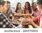 group of friends enjoying drink ... | Shutterstock . vector #284570003