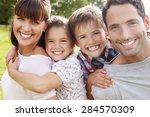 parents giving children... | Shutterstock . vector #284570309