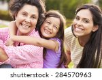 grandmother with granddaughter... | Shutterstock . vector #284570963