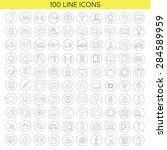 100 thin line icons for web and ... | Shutterstock .eps vector #284589959