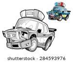 cartoon police car   caricature ... | Shutterstock . vector #284593976