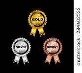 set of medals. gold medal.... | Shutterstock .eps vector #284602523