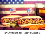 4th Of July Picnic Table With...