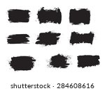 Stock vector grunge shapes set black isolated on white background vector illustration 284608616