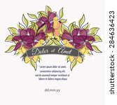 invitation card with floral... | Shutterstock .eps vector #284636423