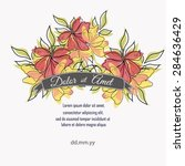 invitation card with floral... | Shutterstock .eps vector #284636429