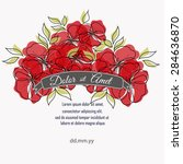 invitation card with floral... | Shutterstock .eps vector #284636870