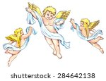 cute little angels with wings... | Shutterstock . vector #284642138