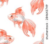 watercolor fish background.... | Shutterstock .eps vector #284643749