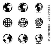 vector set of black globe icons | Shutterstock .eps vector #284644658