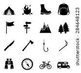 vector set of black hiking and... | Shutterstock .eps vector #284648123