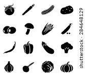 vector set of black vegetables...   Shutterstock .eps vector #284648129