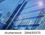 reflect of modern city building ... | Shutterstock . vector #284650370