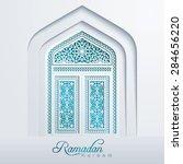 ramadan kareem white mosque... | Shutterstock .eps vector #284656220