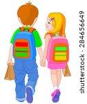 illustration of girl and boy go ... | Shutterstock . vector #284656649